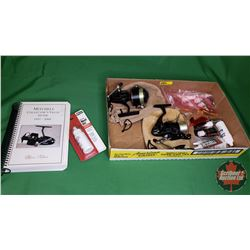 Tray Lot: Mitchell Collectors Value Guide 1937-2000 + 2 Mitchell Reels & Reel Oil & Lubes