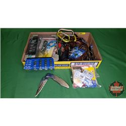 Tray Lot: Watch Batteries, Carabiners, Variety Glues, etc