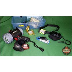 Tote Lot: Eliminator Flash Light Compact Bino's, Compass, Headlights, Snaps, etc