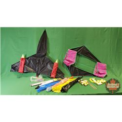 Kite Grouping: Box Kite, Jet Planet Kit & Misc Kits & Lots of String!