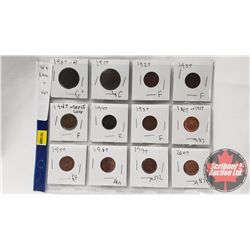 Canada One Cent (Lucy Seven's) Sheet of 12: 1907H; 1917; 1927; 1937; 1947ML; 1947; 1957; 1867-1917;