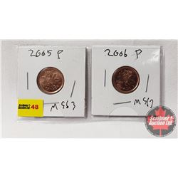Canada One Cent - Strip of 2: 2005P; 2006P