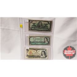 Canada $1 Bills - Sheet of 3: 1937 Coyne/Towers S/N#MN5901072; 1954 Bouey/Rasminsky S/N#PF8886805; 1