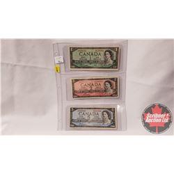 Canada 1954 Bills - Sheet of 3: $1 Beattie/Rasminsky S/N#XO8259792; $2 Bouey/Rasminsky S/N#KG0199753