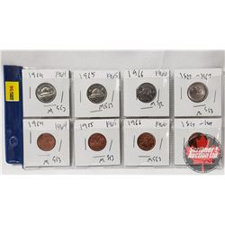 Canada Coins - Sheet of 8: 1964 One Cent; 1964 Five Cent; 1965 One Cent; 1965 Five Cent; 1966 One Ce