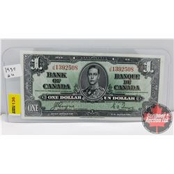 Canada $1 Bill 1937 Coyne/Towers S/N#JN1392508