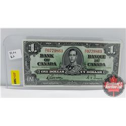 Canada $1 Bill 1937 Gordon/Towers S/N#ZL0779863