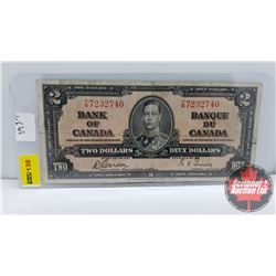Canada $2 Bill 1937 Gordon/Towers S/N#TB7232740