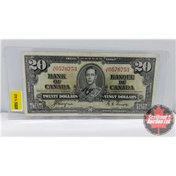 Canada $20 Bill 1937 Coyne/Towers S/N#JE0576753