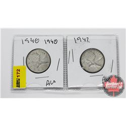 Canada Twenty Five Cent - Strip of 2: 1940; 1942