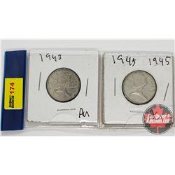 Canada Twenty Five Cent - Strip of 2: 1943; 1945