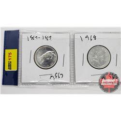 Canada Twenty Five Cent - Strip of 2: 1867-1967; 1968