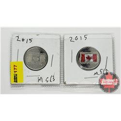 Canada Twenty Five Cent - Strip of 2 (Flag): 2015 Non Colorized; 2015 Colorized