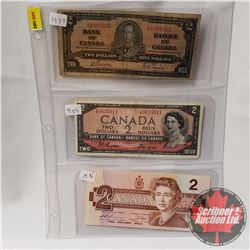 Canada $2 Bills - Sheet of 3: 1937 Gordon/Towers S/N#XB0393895; 1954 Beattie/Coyne S/N#YB0633911; 19