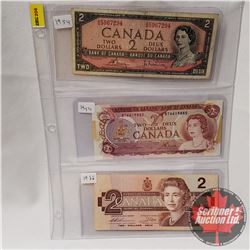 Canada $2 Bills - Sheet of 3: 1954 Bouey/Rasminsky S/N#AG5967294; 1974 Lawson/Bouey S/N#BT6619885; 1