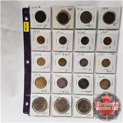 Canada Coins - Sheet of 20 - Variety : Large Cent (1876H; 1901; 1916; 1917) Small Cent (1932; 1941;