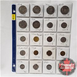 Canada Coins - Sheet of 20 - Variety : Small Cent (1939; 1940; 1941; 1942; 1943; 1944; 1945) Five Ce
