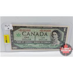 Canada $1 Bill : 1967* (Replacement) Beattie/Rasminsky S/N#*BM1381692