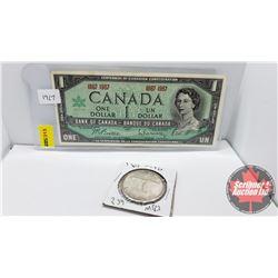 Canada 1967 Pairing: $1 Bill Centennial No S/N# Beattie/Rasminsky & Silver Dollar