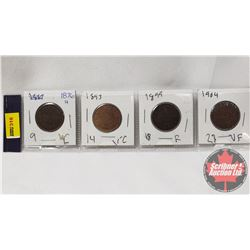 Canada Large Cent - Strip of 4: 1876H; 1893; 1899; 1904