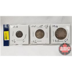 Canada Coins 1918 - Strip of 3: Five Cent; Twenty Five Cent; Fifty Cent