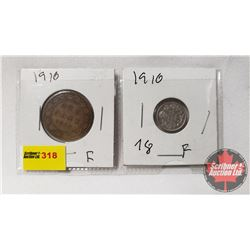 Canada Coins 1910 - Strip of 2: Large Cent; Five Cent