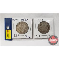 Canada 1917 Coins - Strip of 2: Fifty Cent & Nfld Fifty Cent