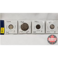 Canada Coins - Strip of 4: Five Cent 1899; Fifty Cent 1900; Five Cent 1901; Five Cent 1905