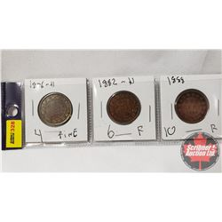 Canada Large Cent - Strip of 3: 1876H; 1882H; 1888