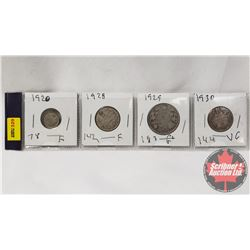 Canada Coins - Strip of 4: Five Cent 1920; Twenty Five Cent 1928; Fifty Cent 1929; Twenty Five Cent