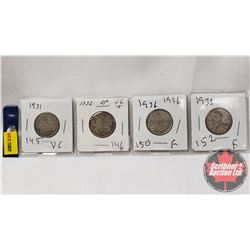 Canada Twenty Five Cent - Strip of 4: 1931; 1932; 1936; 1938