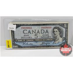 Canada $5 Bill 1954 Beattie/Coyne S/N#WC8038603