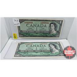Canada $1 Dollar Bills (2 Sequential) Beattie/Rasminsky (LN4393844-45)