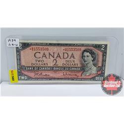Canada $2 Bill 1954 *Replacement Beattie/Rasminsky *BB1553509