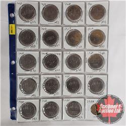 Canada One Dollar Coins - Sheet of 20: 1968; 1969; 1970 Manitoba; 1971 British Columbia; 1972; 1973