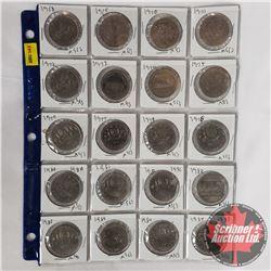 Canada One Dollar Coins - Sheet of 20: 1968; 1969; 1970 Manitoba; 1971 British Columbia; 1972; 1973P