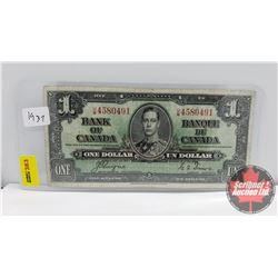 Canada $1 Bill 1937 Coyne/Towers S/N#UM4580491