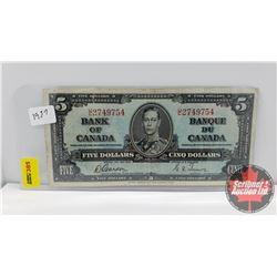 Canada $5 Bill 1937 Gordon/Towers S/N#UC2749754