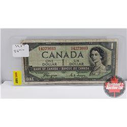 Canada $1 Bill 1954DF Coyne/Towers S/N#DA4273693