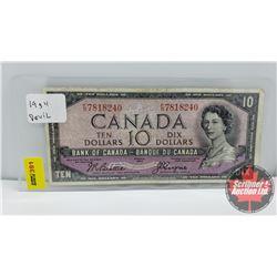 Canada $10 Bill 1954DF Beattie/Coyne S/N#FD7818240