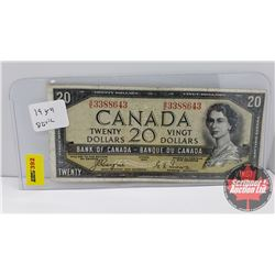 Canada $20 Bill 1954DF Coyne/Towers S/N#BE3388643