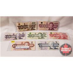 Canada Bills Bird Series (7 Bills) : 1986 $2; 1986 $5; 1989 $10; 1991 $20; 1988 $50; 1988 $100; 1988