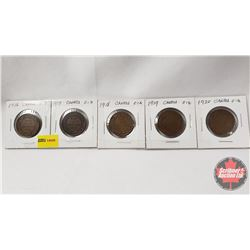 Canada Large Cent - Strip of 5: 1916; 1917; 1918; 1919; 1920
