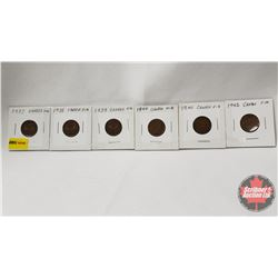 Canada One Cent - Strip of 6: 1937; 1938; 1939; 1940; 1941; 1942