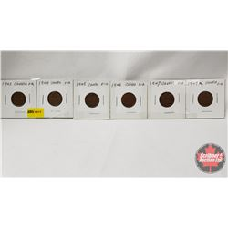 Canada One Cent - Strip of 6: 1943; 1944; 1945; 1946; 1947; 1947ML