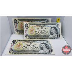Canada $1 Bills Crow/Bouey (Sequence of 3) : S/N#ECN8063580-81-82