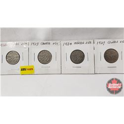 Canada Five Cent - Strip of 4: 1922; 1923; 1924; 1927