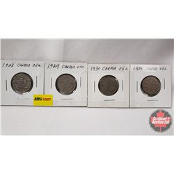 Canada Five Cent - Strip of 4: 1928; 1929; 1930; 1931