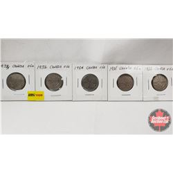 Canada Five Cent - Strip of 5: 1933; 1932; 1934; 1935; 1936