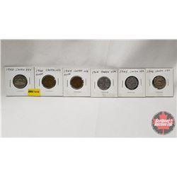 Canada Five Cent - Strip of 6: 1942; 1942Tom; 1943Tom; 1944; 1945; 1946